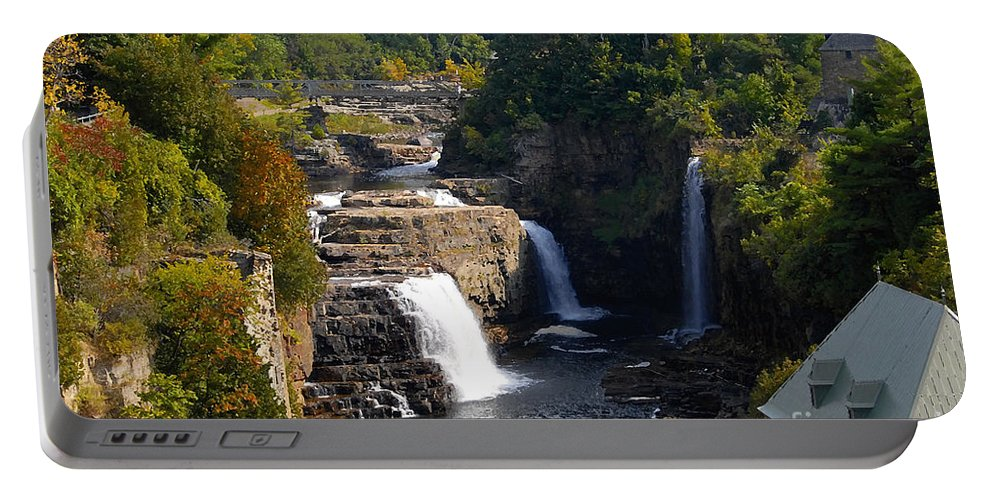 Ausable River Portable Battery Charger featuring the photograph Ausable Falls by David Lee Thompson