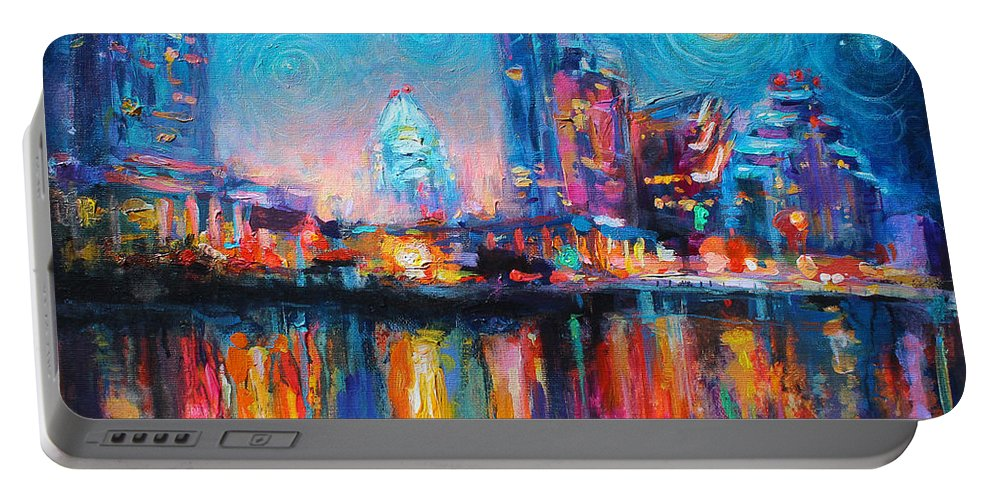 Austin Art Portable Battery Charger featuring the painting Austin Art Impressionistic Skyline Painting #2 by Svetlana Novikova