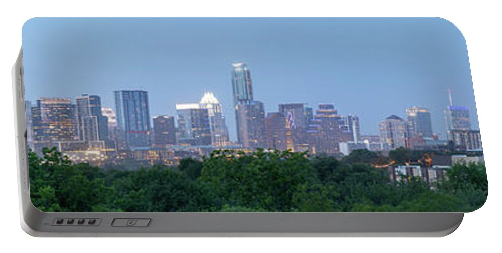 Austin Portable Battery Charger featuring the photograph Austin Texas Building Skyline After The The Lights Are On by PorqueNo Studios