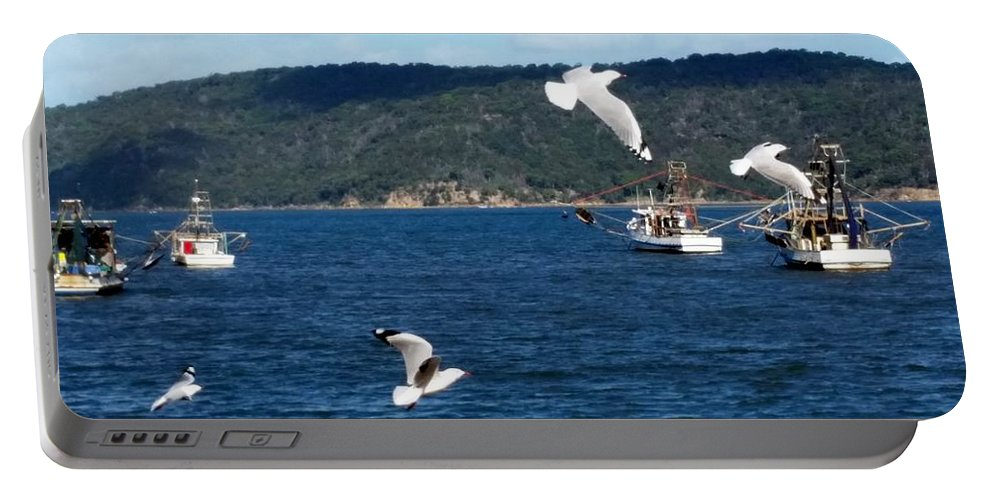 Australia Portable Battery Charger featuring the photograph Australia - Seagulls And Trawlers by Jeffrey Shaw