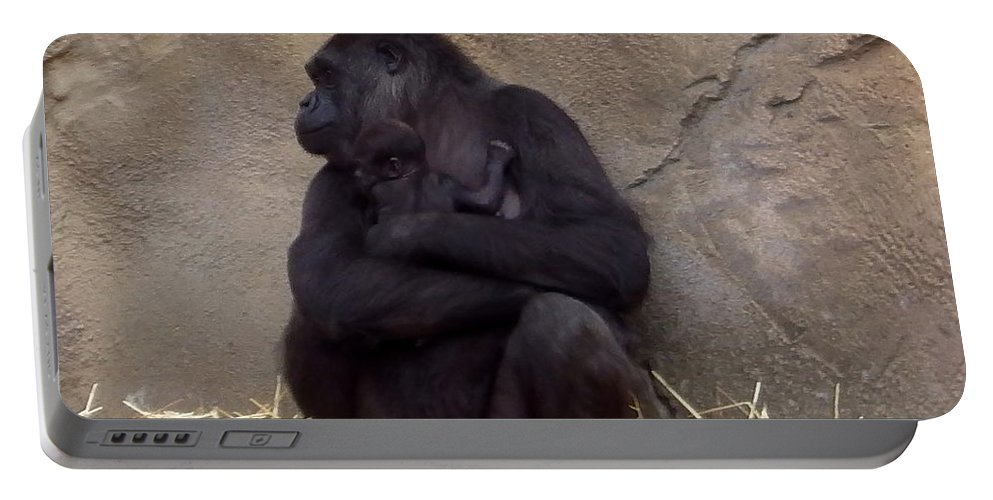 Australia Portable Battery Charger featuring the photograph Australia - Baby Gorilla In Mums Arms by Jeffrey Shaw