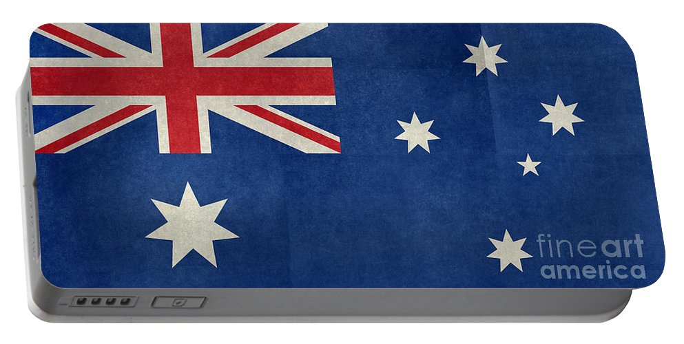 Commonwealth Portable Battery Charger featuring the digital art Australian Flag Vintage Retro Style by Bruce Stanfield