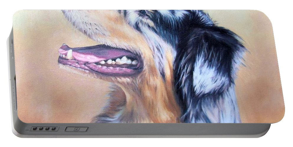 Dog Portable Battery Charger featuring the painting Australian Shepherd Dog by Nicole Zeug