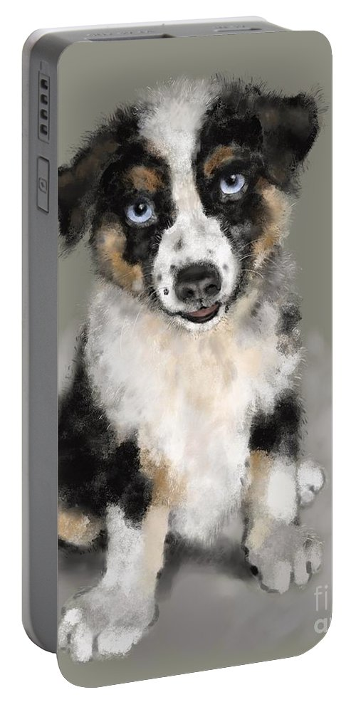 Digital Painting Portable Battery Charger featuring the painting Australian Shepherd Pup by Lora Serra