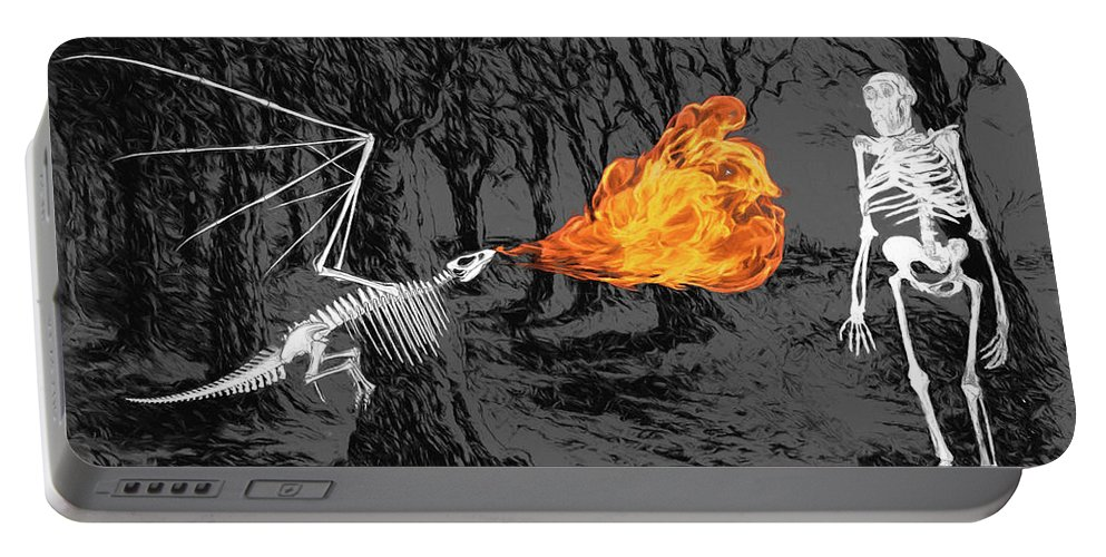 Australopithecus Portable Battery Charger featuring the digital art Australopithecus And The Dragon by John Haldane