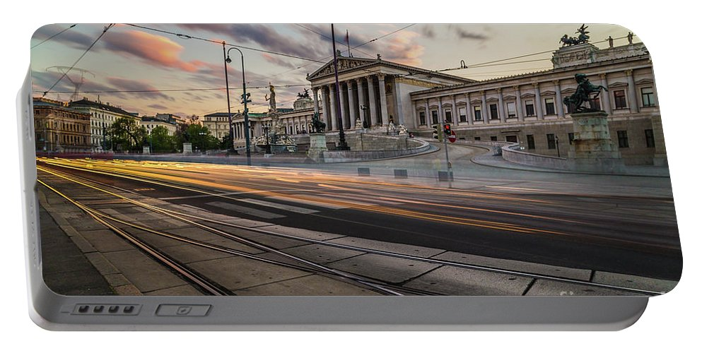 Cloud Portable Battery Charger featuring the photograph Austrian Parliament In Vienna by Travel and Destinations - By Mike Clegg
