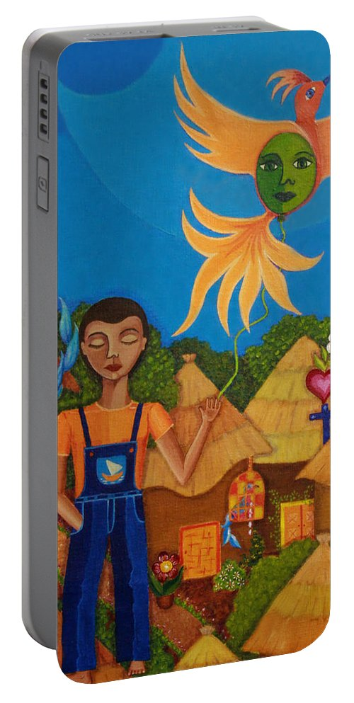 Autism Portable Battery Charger featuring the painting Autism - A Flight To... by Madalena Lobao-Tello