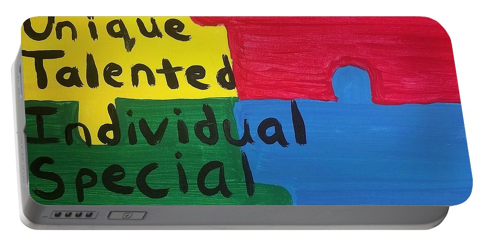 Autism Portable Battery Charger featuring the painting Autism Art by Vale Anoa'i