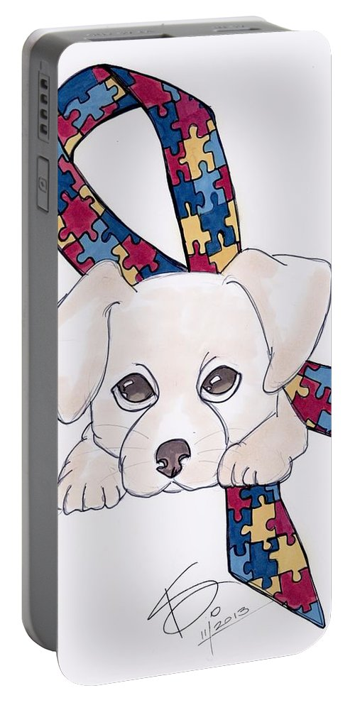 Autism Portable Battery Charger featuring the drawing Autism Awareness And Puppy Love by Kathryn Sanderson