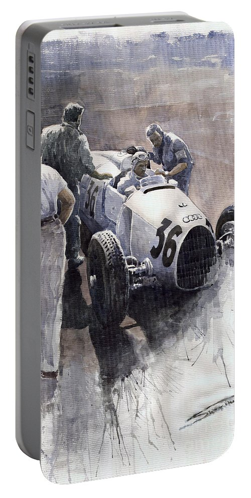 Auto Portable Battery Charger featuring the painting Auto Union B Type 1935 Italian Gp Monza B Rosermeyer by Yuriy Shevchuk
