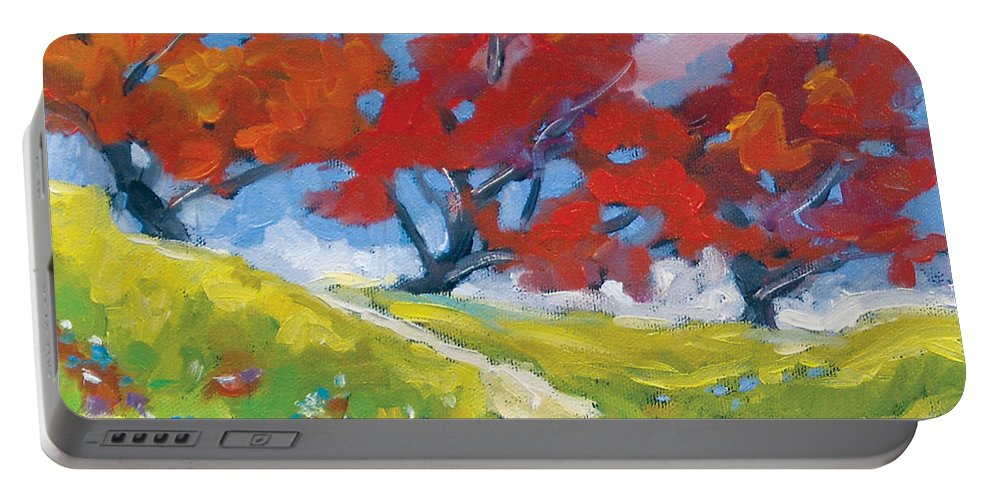 Art Portable Battery Charger featuring the painting Automn Trees by Richard T Pranke