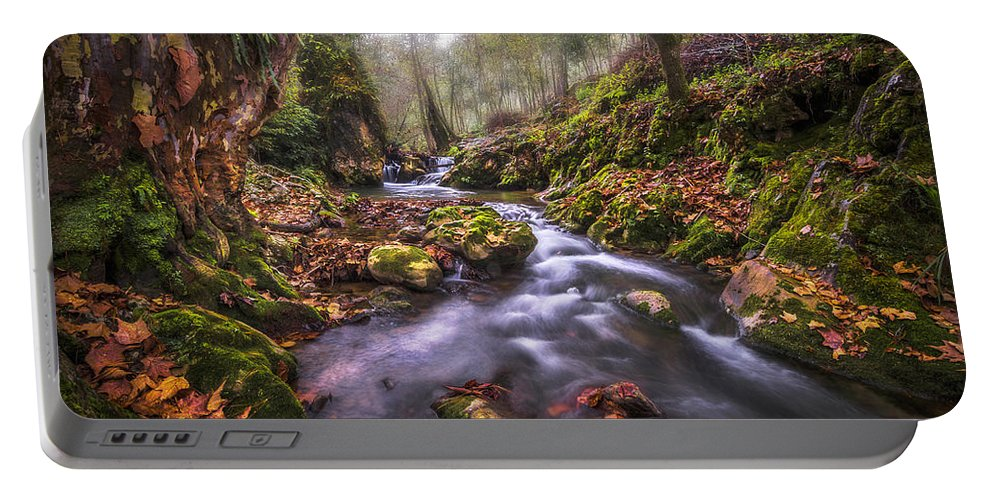 River Portable Battery Charger featuring the photograph Autum In The Sierra Negra Highlands by Luis Lyons
