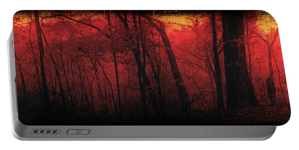 Woods Portable Battery Charger featuring the mixed media Autumn 2015 Panorama In The Woods Pa 06 by Thomas Woolworth