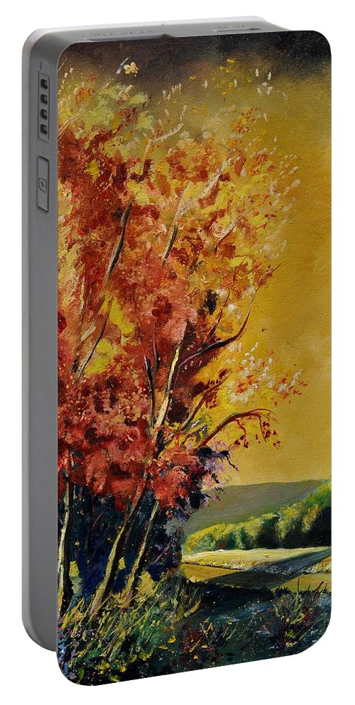 Landscape Portable Battery Charger featuring the painting Autumn 68 by Pol Ledent