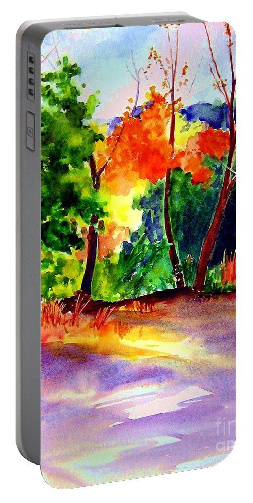 Autumn Portable Battery Charger featuring the painting Autumn Afternoon by Sandy Ryan