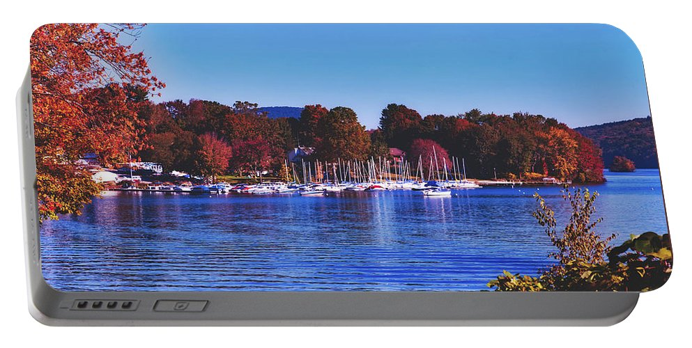 Lake Candlewood Portable Battery Charger featuring the photograph Autumn Along Lake Candlewood - Connecticut by Library Of Congress