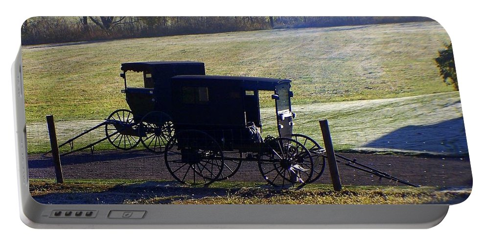 Amish Portable Battery Charger featuring the photograph Autumn Amish Horse Buggy by Charlene Cox