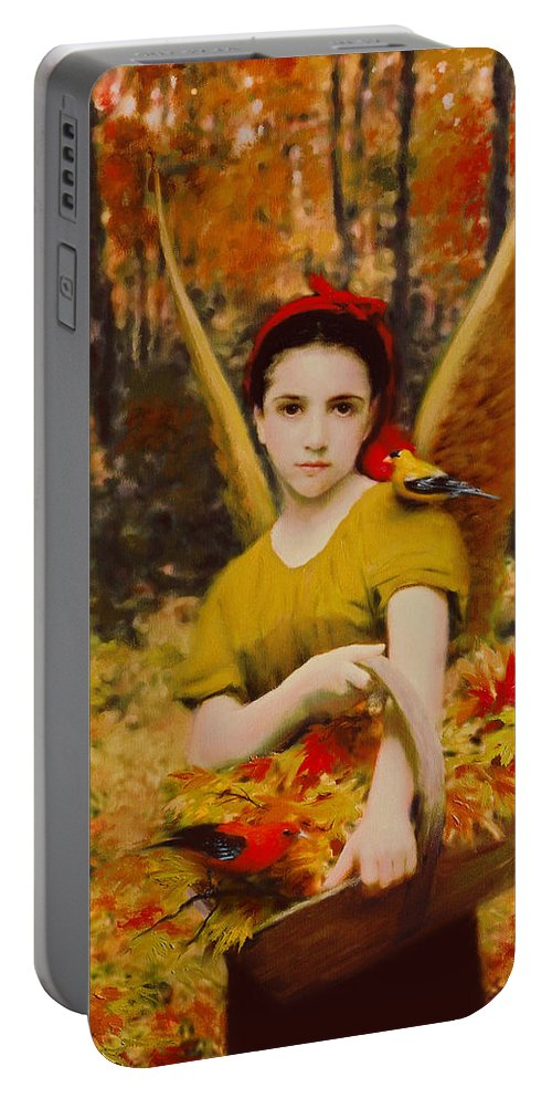 Angel Portable Battery Charger featuring the painting Autumn Angels by Stephen Lucas