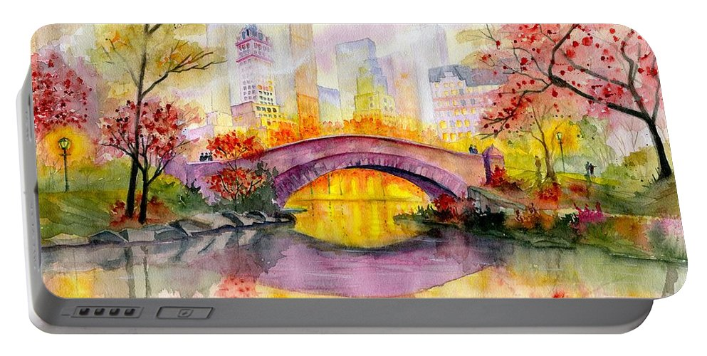 Autumn At Gapstow Bridge Central Park Portable Battery Charger featuring the painting Autumn at Gapstow Bridge Central Park by Melly Terpening
