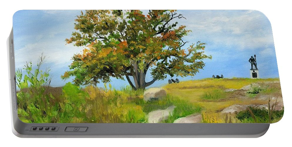 Gettysburg Portable Battery Charger featuring the painting Autumn At Gettysburg by Deborah Butts