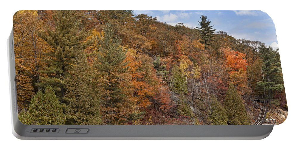 Lake Portable Battery Charger featuring the photograph Autumn At Pink Lake by Eunice Gibb