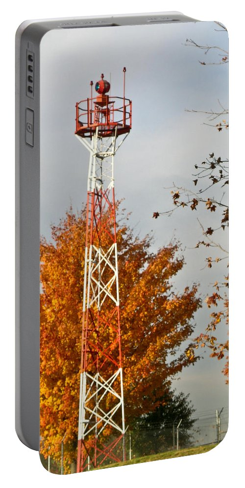 Autumn Portable Battery Charger featuring the photograph Autumn At The Airport Light Tower by Douglas Barnett