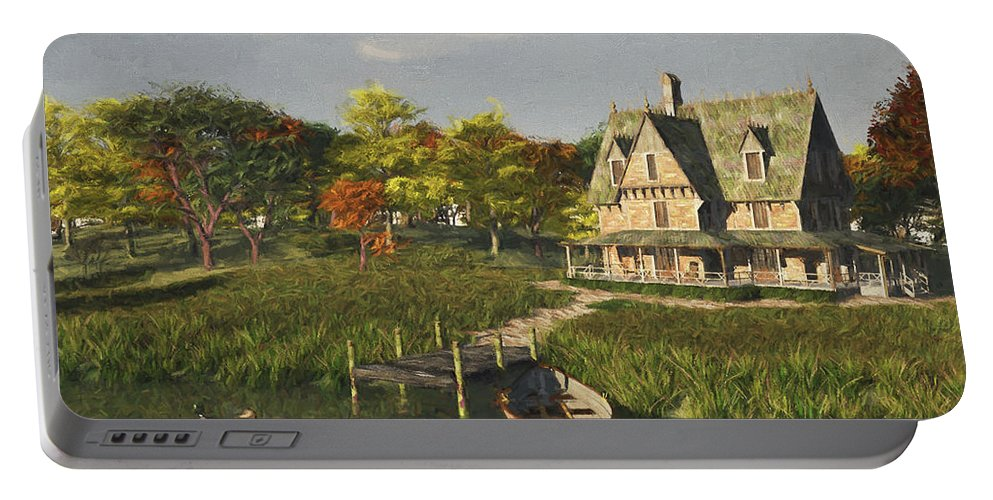 Lakeside Portable Battery Charger featuring the digital art Autumn At The Lake by Jayne Wilson