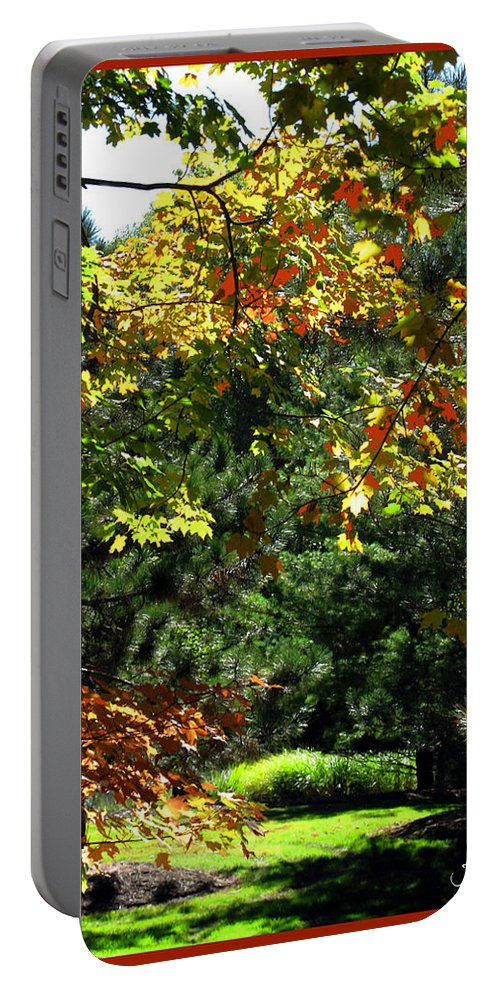 Autumn Portable Battery Charger featuring the photograph Autumn Backyard by Joan Minchak