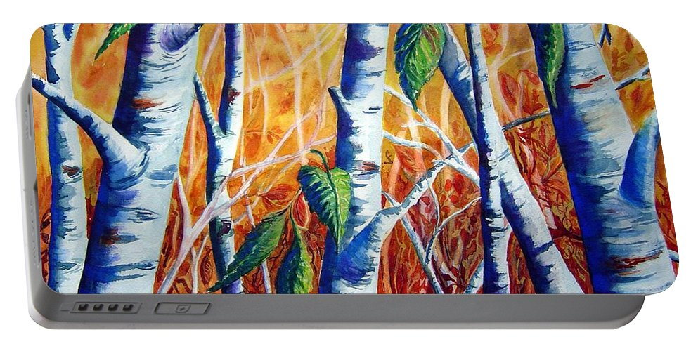 Autumn Birch Trees Portable Battery Charger featuring the painting Autumn Birch by Joanne Smoley