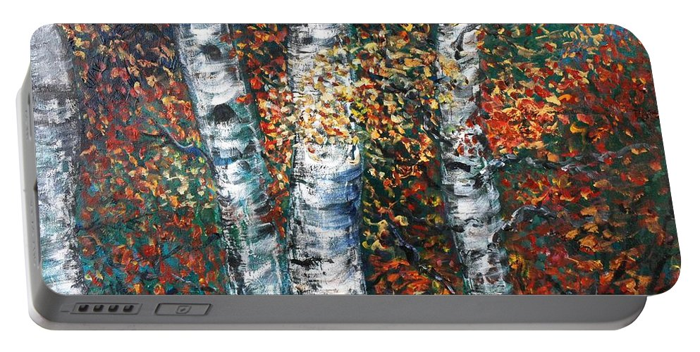 Birch Portable Battery Charger featuring the painting Autumn Birch by Nadine Rippelmeyer