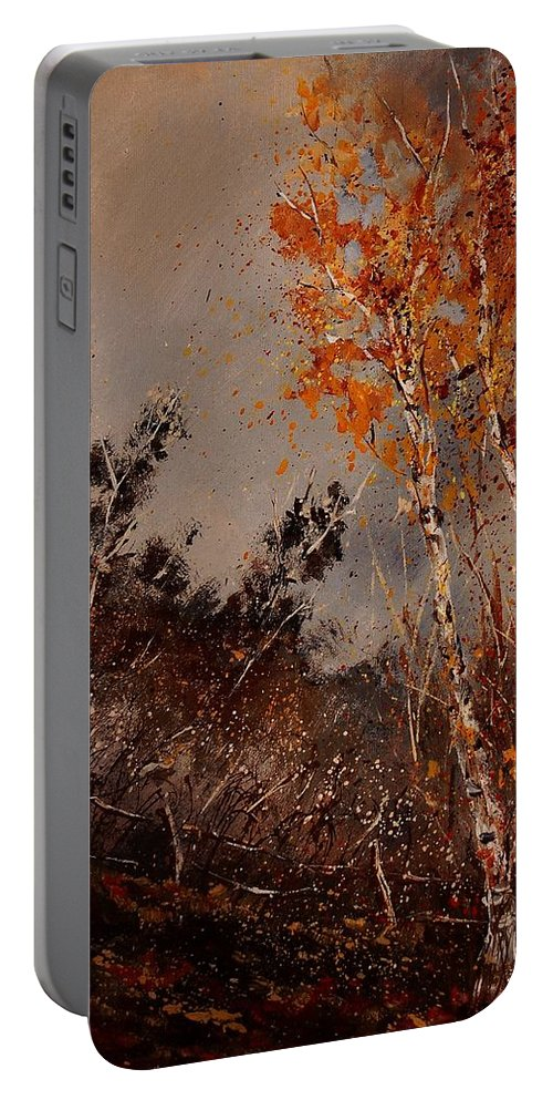 Tree Portable Battery Charger featuring the painting Autumn Birches by Pol Ledent