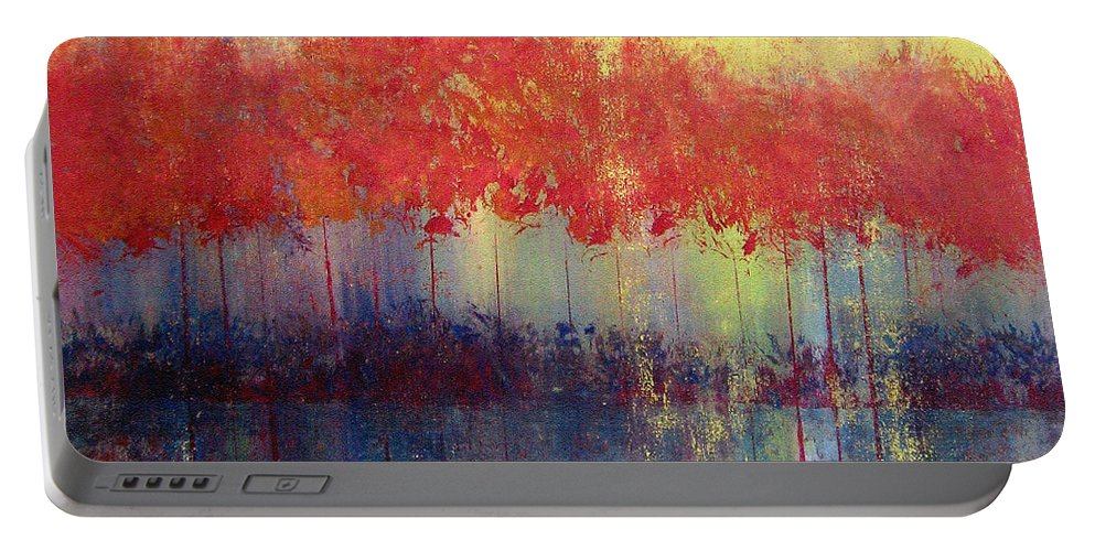 Abstract Portable Battery Charger featuring the painting Autumn Bleed by Ruth Palmer