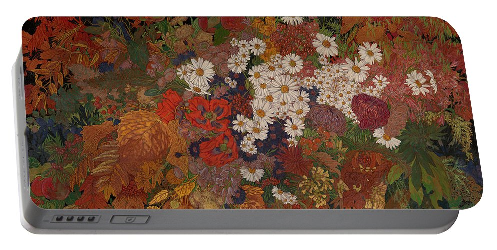 Zemlyanitsyna Portable Battery Charger featuring the painting Autumn Bouquet by MotionAge Designs