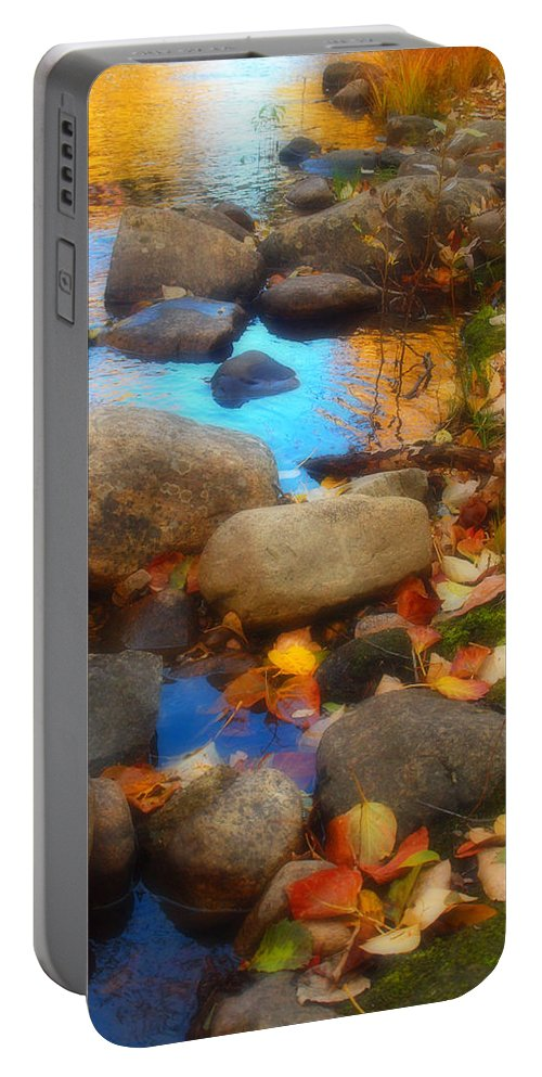 Autumn Portable Battery Charger featuring the photograph Autumn By The Creek by Tara Turner