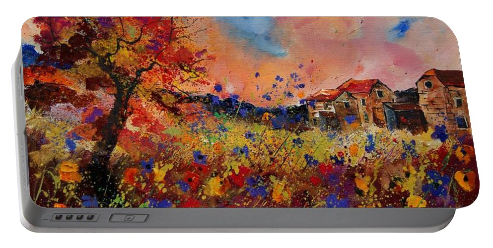 Poppies Portable Battery Charger featuring the painting Autumn Colors by Pol Ledent