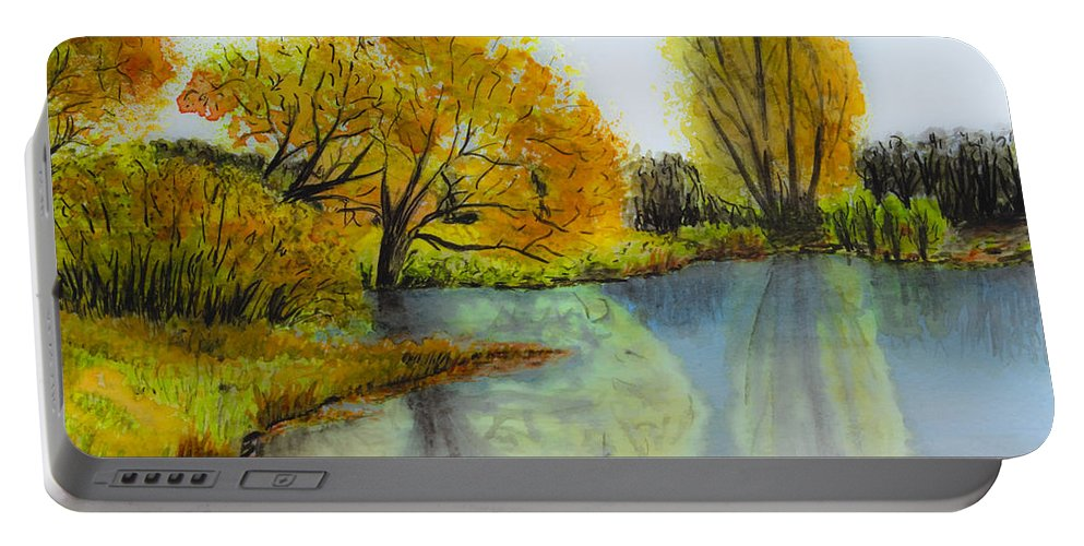 Abstract Portable Battery Charger featuring the painting Autumn Colours by Svetlana Sewell