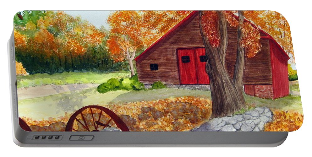 Barn Portable Battery Charger featuring the painting Autumn Day by Julia RIETZ