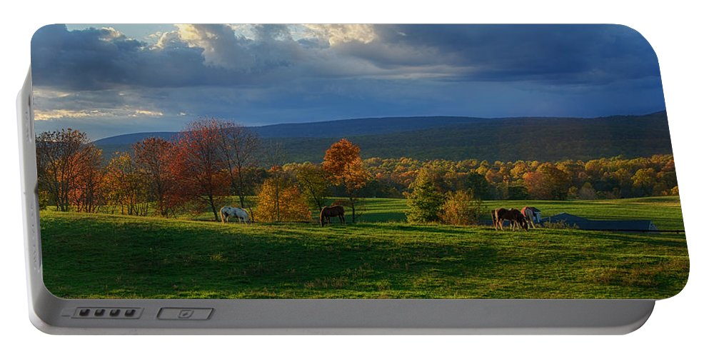 Farm Portable Battery Charger featuring the photograph Autumn Evening by Eleanor Bortnick