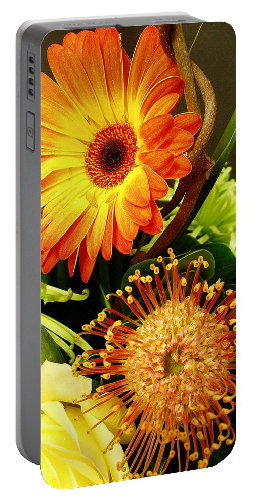Autumn Portable Battery Charger featuring the photograph Autumn Flower Arrangement by Nancy Mueller