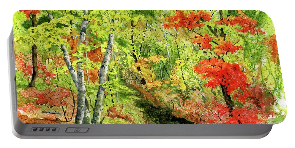 Autumn Portable Battery Charger featuring the painting Autumn Fun by Mary Tuomi