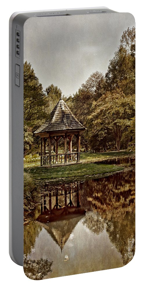 Landscapes Portable Battery Charger featuring the photograph Autumn Gazebo Reflection by Tom Gari Gallery-Three-Photography