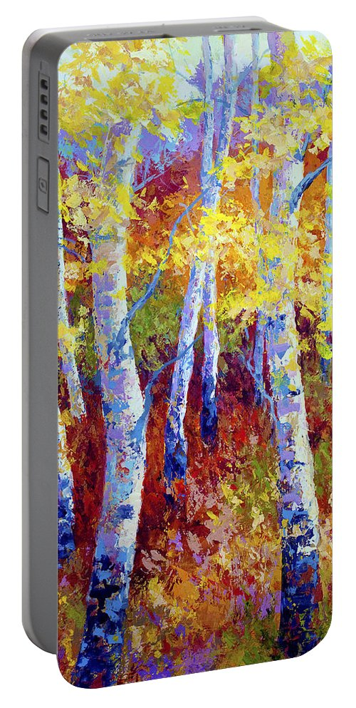 Birch Portable Battery Charger featuring the painting Autumn Gold by Marion Rose