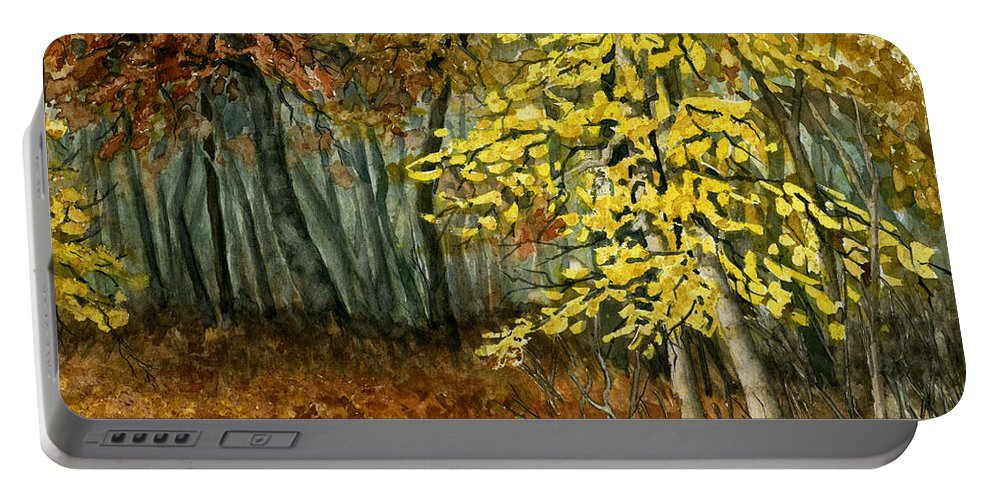 Landscape Portable Battery Charger featuring the painting Autumn Hollow I by Mary Tuomi