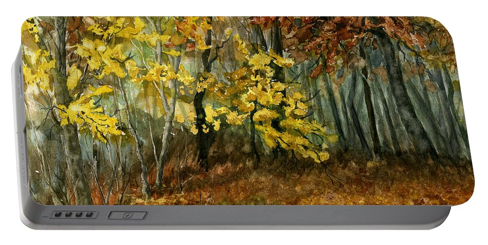 Landscape Portable Battery Charger featuring the painting Autumn Hollow II by Mary Tuomi