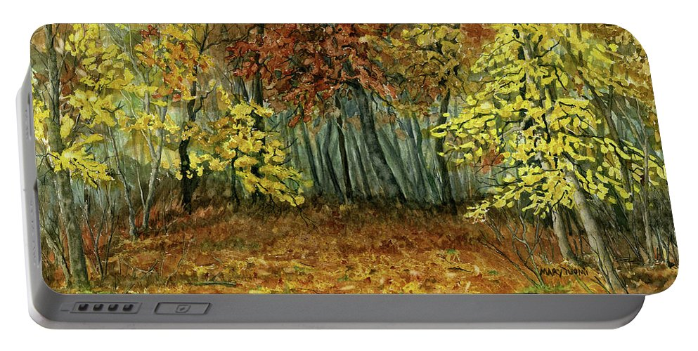 Autumn Portable Battery Charger featuring the painting Autumn Hollow by Mary Tuomi