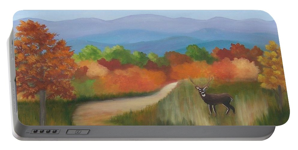 Mountains Portable Battery Charger featuring the painting Autumn In Blue Ridge Mountains Virginia by Ruth Housley