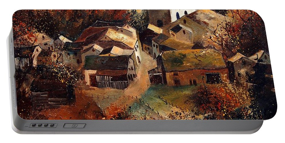Tree Portable Battery Charger featuring the painting Autumn In Frahan by Pol Ledent