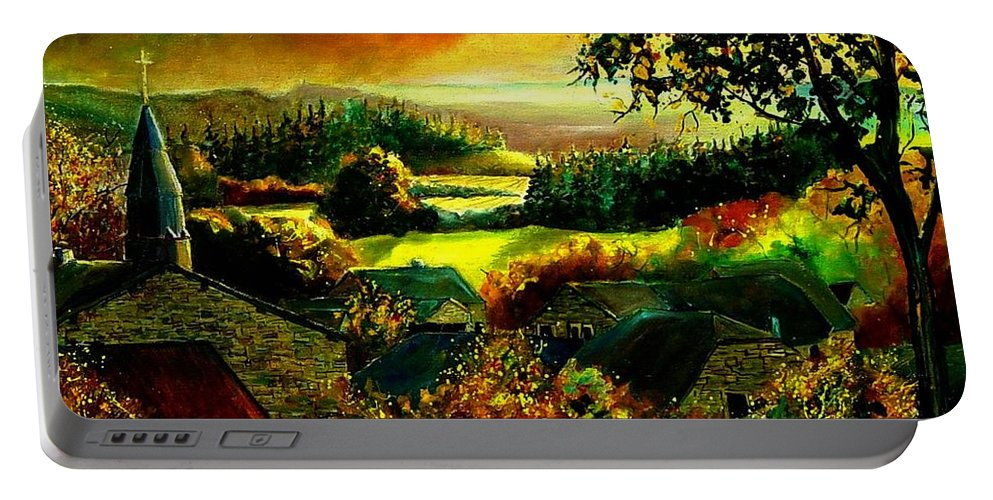 Landscape Portable Battery Charger featuring the painting Autumn In Our Village Ardennes by Pol Ledent