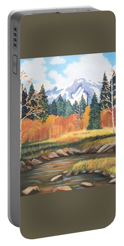 Landscape Portable Battery Charger featuring the painting Autumn In The Mountans by Ruth Housley