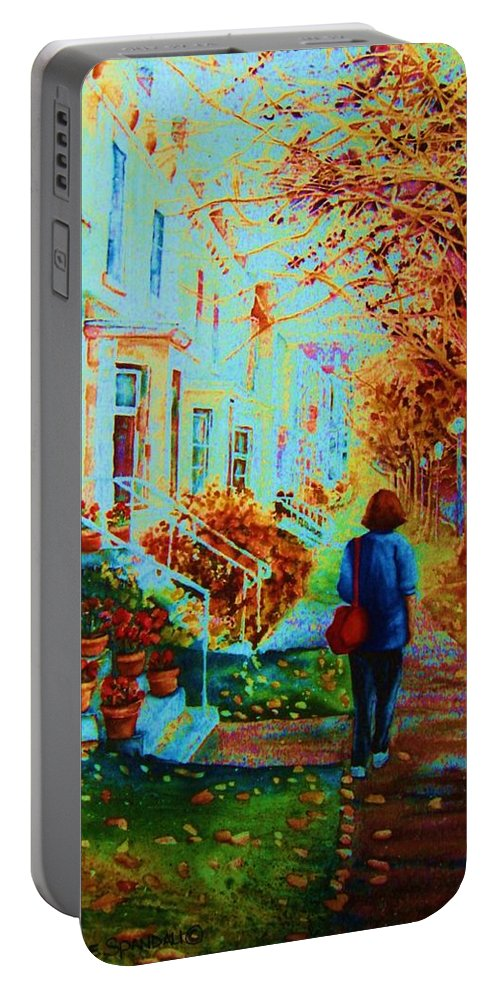 Montreal Portable Battery Charger featuring the painting Autumn In Westmount by Carole Spandau